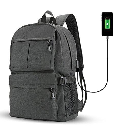 Fastar zaino per computer portatile con porta USB di ricarica, unisex grande capacità College zaini scuola computer zaino per uomini e donne, Black