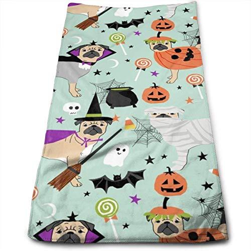 Wodann Mops Halloween-Kostüm - süße Hunde in Kostümen Handtücher Geschirrtuch Floral Leinen Handtücher super weich 11,8