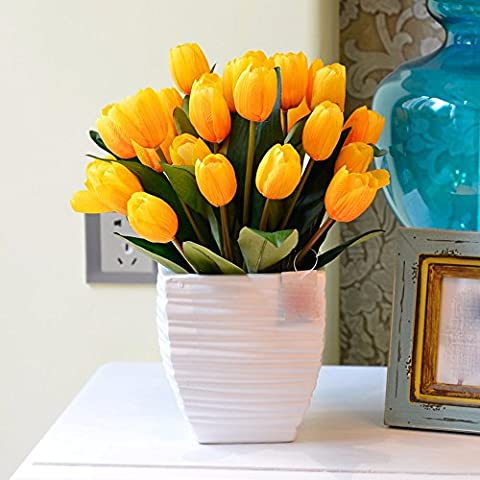 Hctina Artificial flower Tulip Suite Of Plants Flowers In Vases Ceramic Yellow