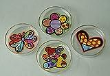 Romero Britto - 4er Set Teebeutelablage aus Glas - Blume, Teddy Bear, Herz, Schmetterling #334485