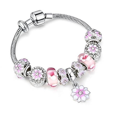 HJSL Bracelet Peach Blossom Femmes Bricolage En Alliage Porous Bracelet Perles,Pink-20CM
