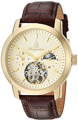 Burgmeister Armbanduhr für Herren mit Analog Anzeige, Automatik-Uhr und Lederarmband - Wasserdichte Herrenuhr mit zeitlosem, schickem Design - klassische Uhr für Männer - BM225-275 Brighton