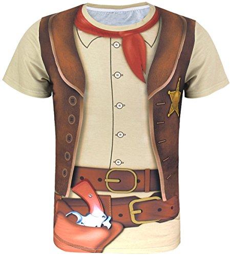 Cosavorock Herren T-Shirts Cowboy Kostüm (XXL) (Ideen Halloween-kostüme Lustig Für Erwachsene)
