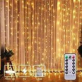 MIFIRE LED-gardinlampor, 3 x 3 m 300 LED-lampor USB-kontakt fjärrkontroll älva ljusslingor gardin fönsterbelysning med 8 lägen för sovrum, matsal, fönster heminredning