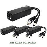 ANVISION 4-Pack Active PoE Splitter Adaptateur IEEE 802.3af Compliant 10 / 100Mbps, DC 12V Sortie pour caméra IP Wirelss AP Routeur Voip Téléphone AV-PS12