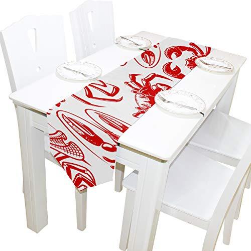 Yushg Japanischen Stil Ocean Delicious Seafood Kommode Schal Tuch Abdeckung Tischläufer Tischdecke Tischset Küche Esszimmer Wohnzimmer Home Hochzeitsbankett Dekor Indoor 13x90 Zoll