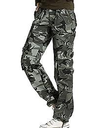 Tangda-Pantalon Camouflage Femme Imprimé Camo en Coton Adultes Combat Militaire Taille 34-40 Couleur de ceinture au hasard