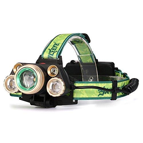LED Stirnlampe, Ulanda-EU 5x CREE T6 USB Wiederaufladbare LED Kopflampe, 35000 Lumen wasserdichter Scheinwerfer mit 4 Lichtmodi. Ideal für Camping, Wandern, Radfahren, Outdoor Aktivitäten