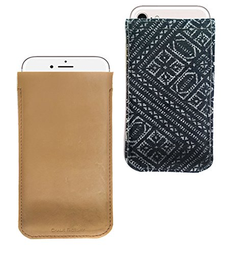 Chalk Factory Premium Genuine Leather with Denim Back Ltd Edition Ultra Slim Sleeve Cover Pouch Case for Micromax Bolt A37B Mobile Phone