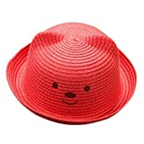 VENMO Cartoon Kinder Breathable Hut Stroh Hut Kinder Hut Junge Mädchen Hut Mütze Kinder Sonnen Hut Bunte Plüsch Ball Stroh Hut Strand Cap Sonnenschutz Flach Kappe Outdoor Reise Cap (Red)