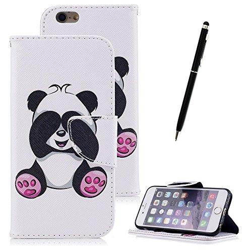 Cover per iPhone 6 Plus,per iPhone 6S Plus Custodia in Pelle, ZCRO PU Cuoio Magnetica Flip Cover in Pelle a Libro Portafoglio Case Caso con Disegni e Porta Carte Protettiva Antiurto Copertura Custodia Cute Panda