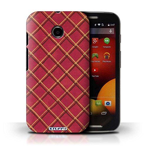 Kobalt® Imprimé Etui / Coque pour Motorola Moto E (2014) / Jaune conception / Série Motif Entrecroisé Rouge