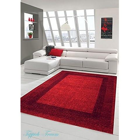 Alfombra diseñador Alfombra moderna pelo de la alfombra sala de estar alfombras de pelo bajo con borde Winchester en rojo Größe 160x230