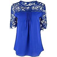 YALI Camiseta De Encaje,Azul,4XL