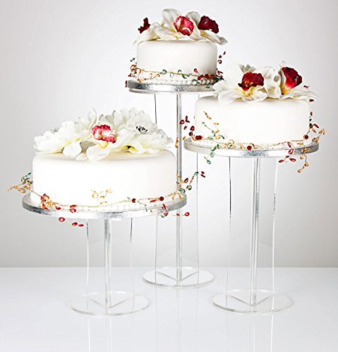 Emily Pillar Clear Acrylic Wedding, Celebration & Party Occasion Cake Display Stand - Various Sizes
