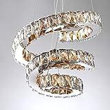 LXD Lámpara moderna del hogar K9 LED Lámpara colgante de cristal Montaje empotrado Lámpara de techo 3 Anillos