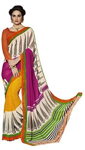 Khoobee Presents Printed Georgette Half & Half Saree(Yellow,Cream,Rani,Multi)  available at amazon for Rs.500
