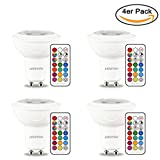 GU10 LED Lampe Farbwechsel LED2YOU LED Birne mit Fernbedienung 3W Dimmbar Speicherfunktion RGB + Warmweiß(2700K) Einbauleuchte Deckenleuchte Spotlight, 200LM, für Ambiente Party Deko(4er Pack GU10)