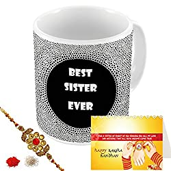 Aart Store Best Sister Ever Multi Colours Printed Mug, Greeting Card, Rakhi, Roli, Chawal Gift Pack for Brothers/Sisters to Enjoy Raksha Bandhan Festival.