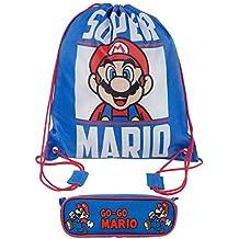Super Mario niños Regreso a la escuela Elementos básicos Con cordón PE Bolsa de baño Mochila