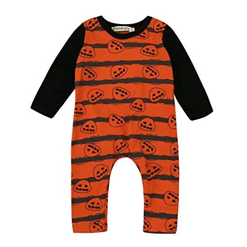 Babyoverall Hirolan Kinderkleidung Neugeboren Kleinkind Baby Jungen Mädchen Halloween Kürbis Strampelhöschen Lange Hülse Overall Baumwolle Outfit Kleider 3-18 Monate (100cm, Orange)