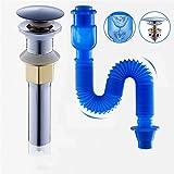 Pop Up Ablaufgarnitur Ohne Überlauf Push-Open-Technik Stöpsel Ablaufventil Abfluss Ventil Für Waschbecken Waschtisch Küchenspüle