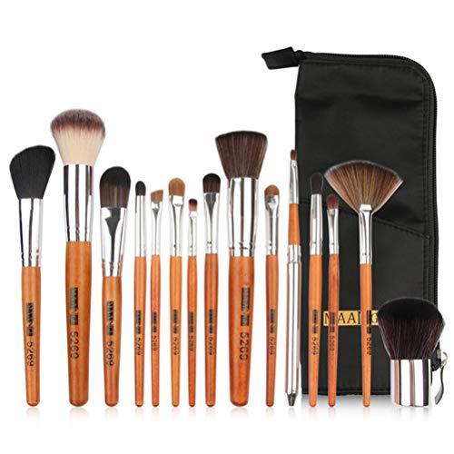 Jiahe 15 Stück Make-up-Pinsel, Maskenbildner oder Anfänger mit Nylon-Kosmetiktasche für nass und...