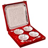 Indian Craft Villa Handmade Silver Plated Brass Bowl With Tray Set Of 9 Pieces . Can be use as kitchenware and Eid,Holi,Diwali Anniversary Gift,Other Gift ideas