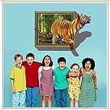 Wandaufkleber Große Größe 100X70cm Tiger Fenster Wandaufkleber Steuern Dekor Wohnzimmer Kinderzimmer 3D Lebendige Wandtattoos Pvc Poster