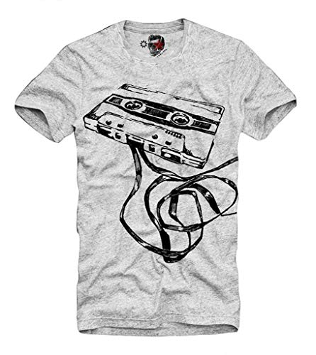 E1SYNDICATE T-SHIRT DEMO TAPE COMPACT CASSETTE DJ MC VJ ANALOG AUDIO STEREO GRIS S-XL