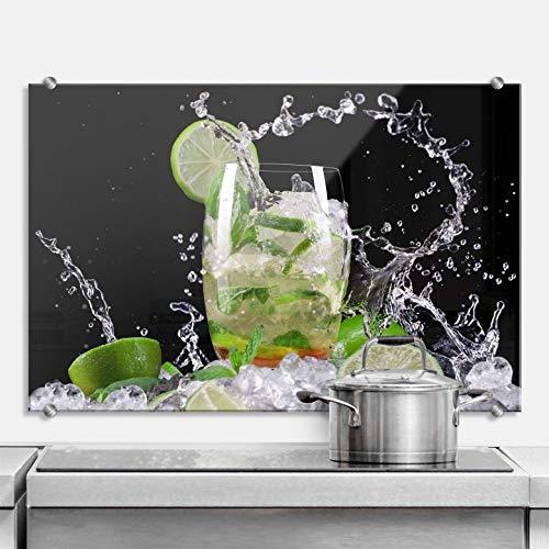 Spritzschutz Splashing Mojito Küche Küchenrückwand Drink Cocktail Limetten Eiswürfel Wall-Art - 60x40 cm