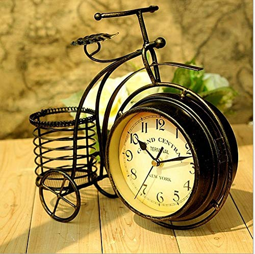 Littlefairy Mantel ClocksCreative Clock Iron Bicycle Clock Home Living Room Double-Sided Mute Clock 28 * 24 * 8cm