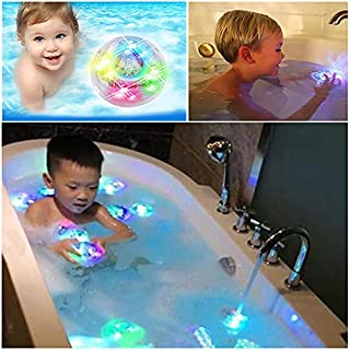 Alxcio 2 Pcs Kids Light Toy Bath Water LED Floating Bath Toys, Colorful Light Up Baby Toddler Infant Shower Bathtime Bathtub Water Light Toy Set