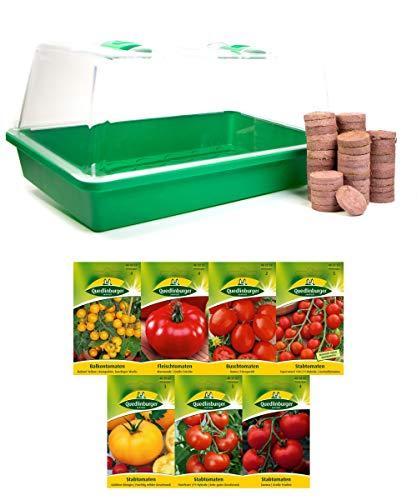 mgc24® Zimmergewächshaus »Greenhouse« | Anzuchtschale mit Deckel und Belüftung | Komplettset mit 50 Quelltabs + 7 Sorten Tomatensamen