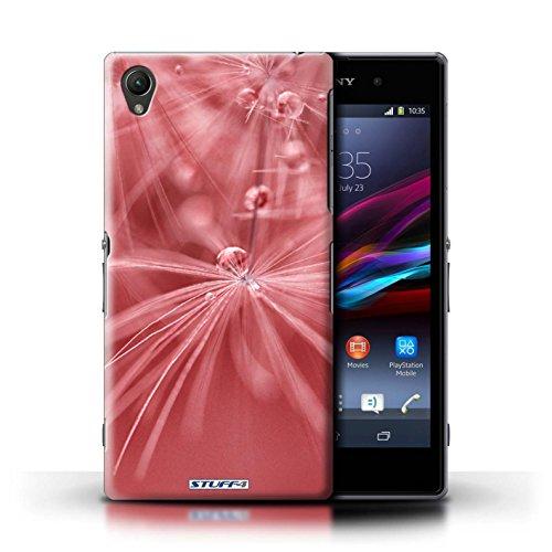 Kobalt® Imprimé Etui / Coque pour Sony Xperia Z1 / Fleur Violet conception / Série Gouttes de Fées Fleur Rouge