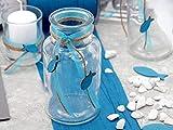 ZauberDeko Tischdeko Kommunion Konfirmation Petrol Blau Grau Baum des Lebens Set 20 Personen Fisch - 4