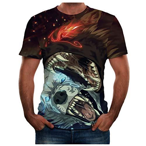 BHYDRY Männer Sommer Neue volle 3D gedruckte T-Shirt Plus Größe S-3XL Cool Printing Top Bluse(XXX-Large,Grün -