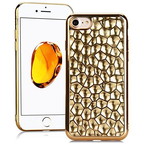 SMARTLEGEND Silicone Morbido Cover Per iPhone 7, Anti-Graffio TPU Case Cover, Placcatura Design Ultra Glitter Protettiva Guscio Protettivo, Anti-Shock Soft Cover, Durevole Soft Case - Oro Oro