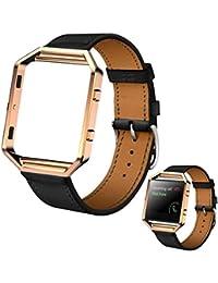 Malloom Correa de muñeca de lujo de cuero genuino reloj banda + Metal Frame de Fitbit Blaze elegante reloj (negro)