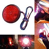 Auto Rücklicht Motorrad Runde Rücklicht 12V Rot 24 LED Brems Blinker Stop Rückleuchten Reflektoren (Rot)