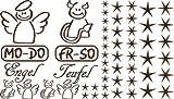 Autoaufkleber Sticker Aufkleber Set für Auto Schriftzug Engel Mo-Do Fr-So Teufe (803 schockoladenbraun)