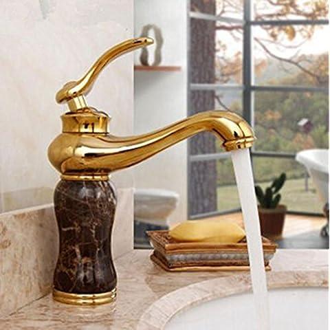 sbwylt-copper grifo, Dual orificio único baño, fría y caliente, lavabo de baño de macetas, Jade oro rosa