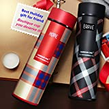 Frabble Stainless Steel 500ml Double Wall BPA Free Vacuum Flask Insulated Water Bottle With Strainer BPA-Less Leak Proof Sipper (Red And Black)