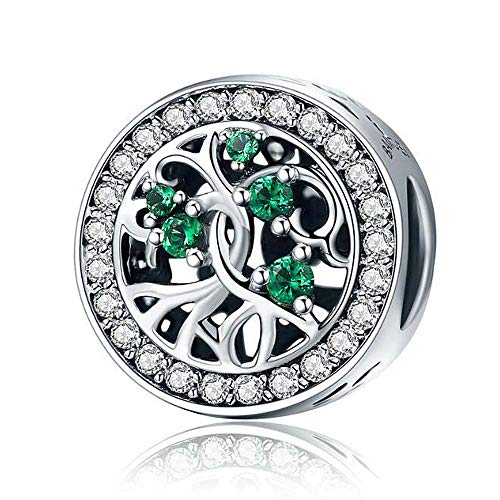 ANLW Women Bead Charms Pandora Life Tree 925 Sterling Silver for Charm Perles Accessoires, Nickel-frei, Passed SGS
