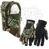 Angeln-grün Neopren-Handschuhe Mit Zusammenfaltbar Finger + De luxe Camo Schal Hat NGT Handschuhe Erhältlich in klein mittelgroß groß& Extra Groß - Gloves Large