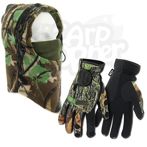 Fishing Neoprene Gloves With Folding Fingers + Deluxe Camo Snood Hat NGT Gloves Available in Small Medium Large & Extra...