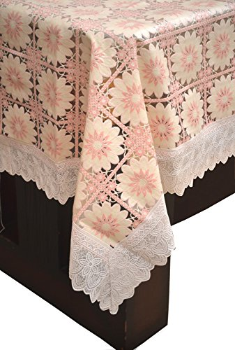 Pindia 6 Seater 60 x 90 INCH Fancy Print Non Transparent Waterproof Table Cover Pink Printed Flower Sheet Mat PVC plastic Dining Ractangle  available at amazon for Rs.466