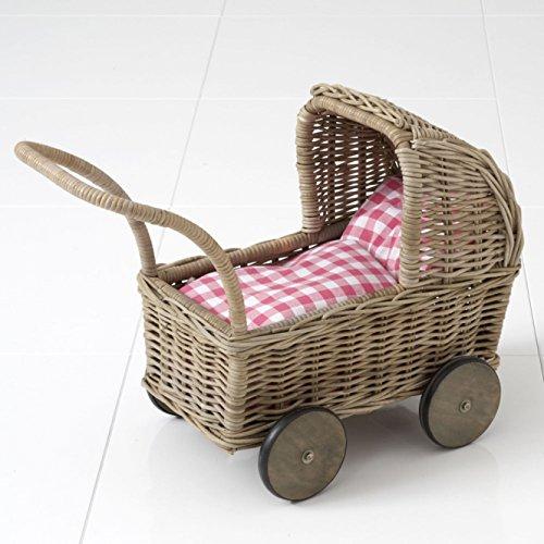 Preisvergleich Produktbild lounge-zone Puppenwagen aus Rattan LISA mit Puppenbettwäsche Weide Handarbeit 14192
