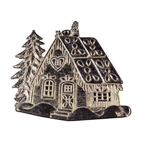 Zinngeschenke Pfefferkuchenhaus aus Zinn poliert (HxB) 5,3 x 5,3 cm Christbaumschmuck
