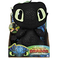 Dragons 6046841 DreamWorks, Squeeze & Growl Toothless, 10-Inch Plush Sounds, for Kids Aged 4 and Up